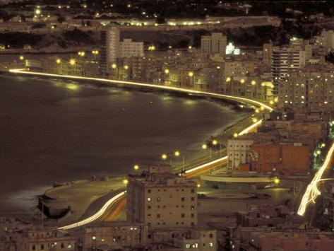 Malecon at Night, Havana, Cuba Photographic Print