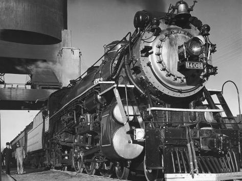 Locomotive of Train at Water Stop During President Franklin D. Roosevelt's Trip to Warm Springs Photographic Print