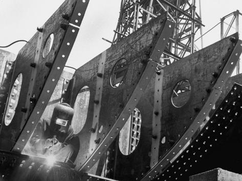 Welder Securing Steel Structure While Working on Hull of a Ship, Bethlehem Shipbuilding Drydock Photographic Print