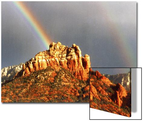 Rainbow over Snoopy Rock, Sedona, Arizona, USA Art on Acrylic
