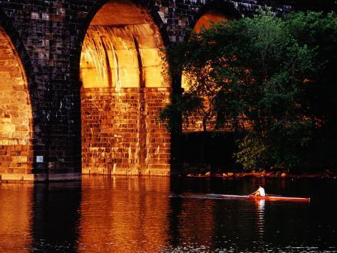 Scull Near Bridge on Schuylkill River, Philadelphia, Pennsylvania Photographic Print