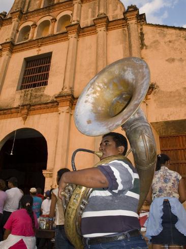 Tuba Player in Front of Iglesia San Juan Bautista de Subtiava During Semana Santa, Leon, Nicaragua Photographic Print