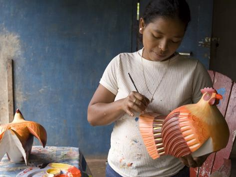 Woman Painting Balsa Wood Sculptures of Chickens, Rio San Juan, Nicaragua Photographic Print