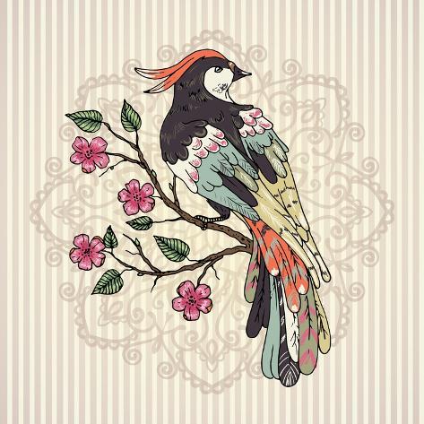 bird on a branch vector illustration mandala on a background