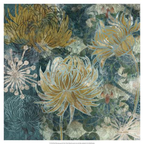 Navy Chrysanthemums II Art Print