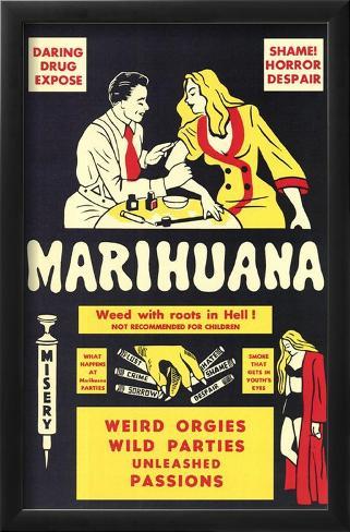 Marihuana Impressão artística emoldurada