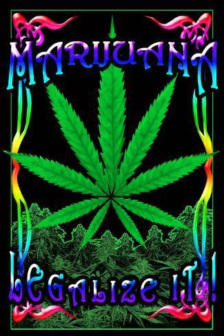 Marijuana Leaf Blacklight Poster