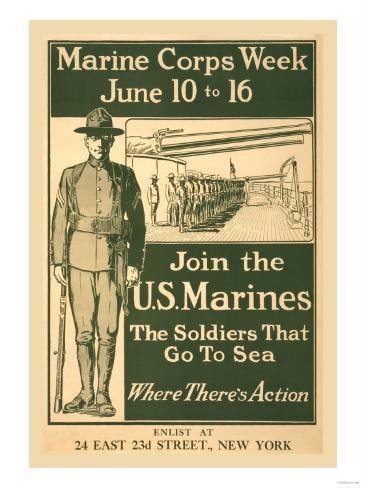 Marine Corps Week, June 10 to 16, Join the U.S. Marines Stampa giclée premium