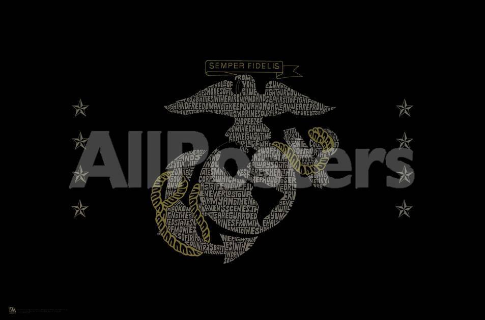 Marine Emblem (Semper Fi, Marines' Hymn Lyrics) Art Poster Print ...