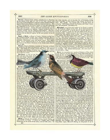 Birds on a Skateboard Giclee Print