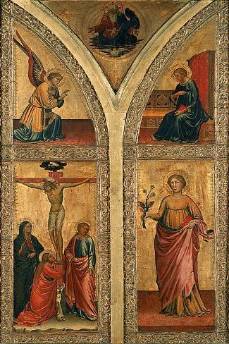 Altar Wing Depicting the Crucifixion, St. Dorothy and Other Saints, C.1420 Giclee Print
