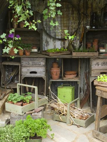 Potting Shed in Garden at Hampton Court Flower Show Photographic Print