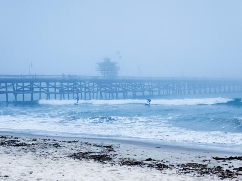 San Clemente Pier with Surfers on a Foggy Day, California, United States of America, North America Photographic Print