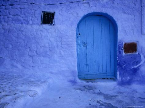 Alleys and Doorways Painted Blue to Repel Insects in the Rif Mountains, Chefchaouen, Morocco Photographic Print
