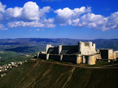 Castle on Hilltop Overlooking Village, Crac Des Chevaliers, Syria Photographic Print