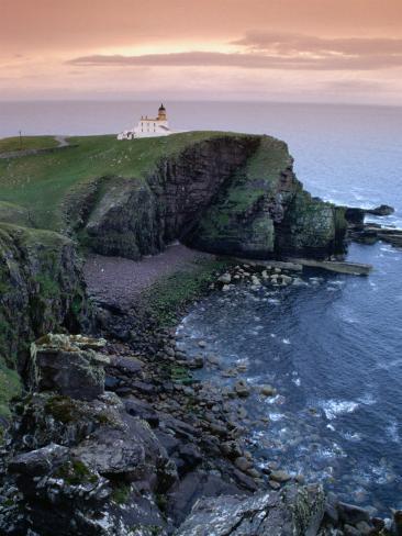 Coastline and Rhu Stoer Lighthouse (Stoerhead), United Kingdom Photographic Print