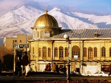 Emam Khomeini Square with Backdrop of Zagros Mountains, Hamadan, Iran Photographic Print