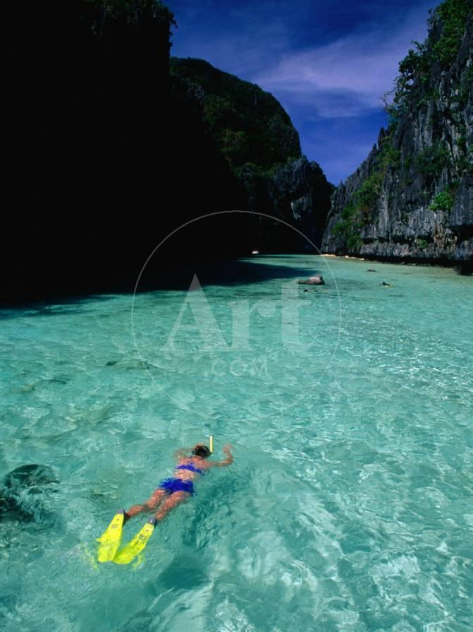 Snorkelling In The Big Lagoon El Nido Miniloc Island Palawan Philippines