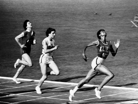 US Runner Wilma Rudolph Winning Women's 100 Meter Race at Olympics Premium Photographic Print