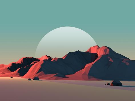 Low-Poly Mountain Landscape at Dusk with Moon Art Print
