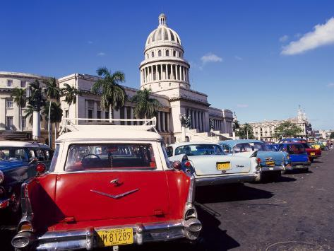 Street Scene of Taxis Parked Near the Capitolio Building in Central Havana, Cuba, West Indies Photographic Print