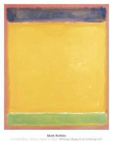 Untitled (Blue, Yellow, Green on Red), 1954 Art Print