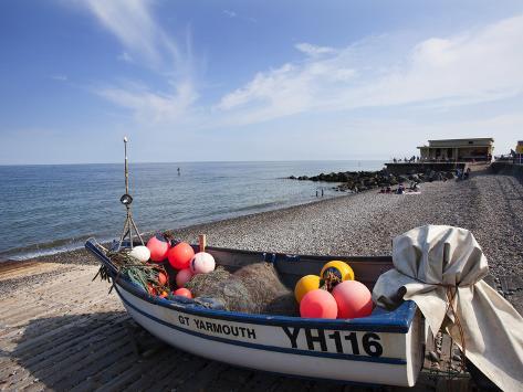 Fishing Boat on the Shingle Beach at Sheringham, Norfolk, England, United Kingdom, Europe Photographic Print
