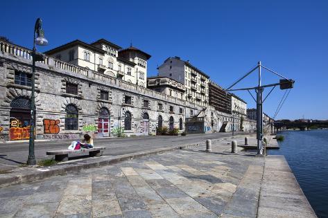 The Murazzi Del Po in Summer, Turin, Piedmont, Italy, Europe Photographic Print