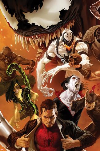 Amazing Spider-Man No.642 Cover: Peter Parker, Scorpion, Morbius, Rhino, and Anti-Venom Standing Poster