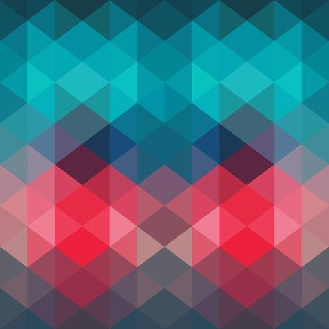 Spectrum Geometric Background Made of Triangles. Retro Hipster Color Spectrum Grunge Background. Sq Art Print