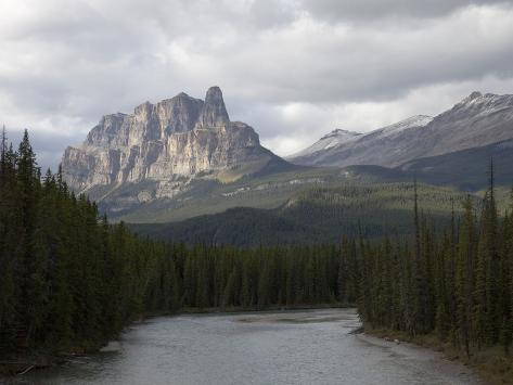 Castle Mountain of Limestone, Banff National Park, Alberta, Canada Photographic Print