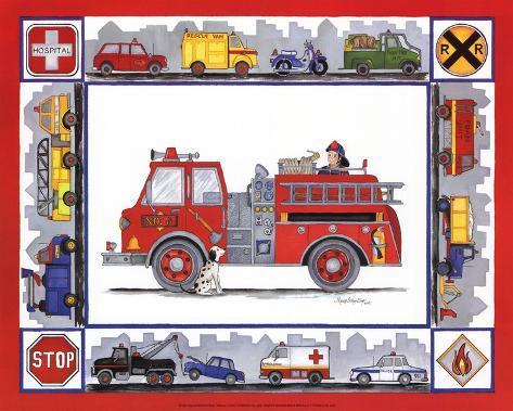 Rescue Trucks Art Print