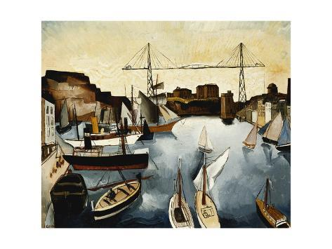 Marseilles Harbour Stretched Canvas Print