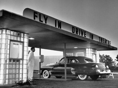 Customers Arriving by Car at Fly in Drive in Theatre Photographic Print