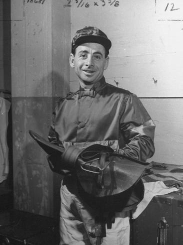 Jockey Johnny Longden Smiling and Holding Saddle Premium Photographic Print