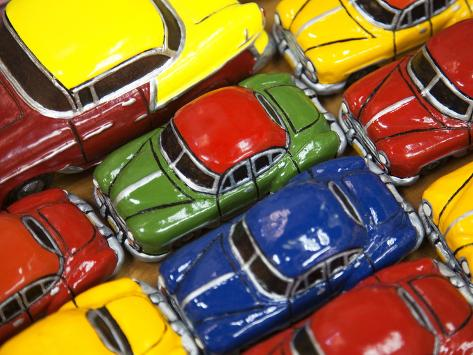 Rows of Colourful Model Traditional American Cars For Sale to Tourists, Old Havana, Cuba Photographic Print