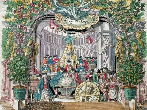 Fold-out 'Peep Show' of a Masonic Lodge, Mid Eighteenth Century Lámina giclée