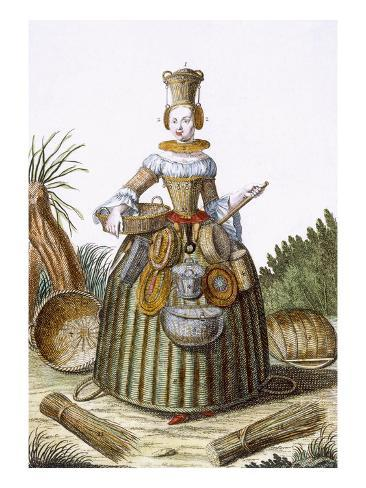 The Basket Weaver's Costume (Coloured Engraving) Giclee Print