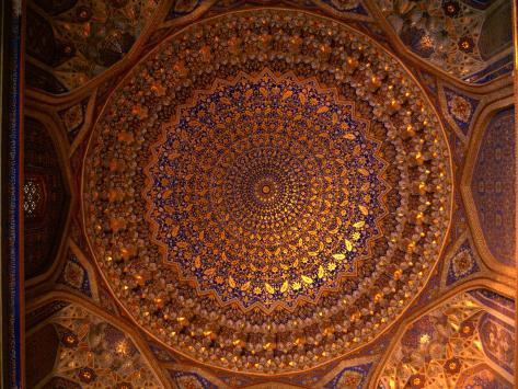 Ceiling Inside Dome of Tilla-Kari Medressa, Uzbekistan Photographic Print