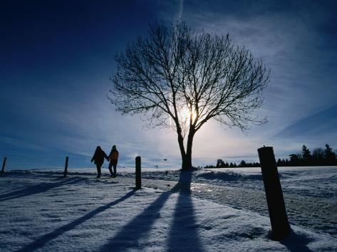 Couple Hiking on a Path with Winter Sun, Zurich, Switzerland Photographic Print