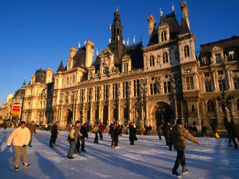 Ice-Skating in Front of Paris Hotel De Ville (City Hall), Paris, France Photographic Print