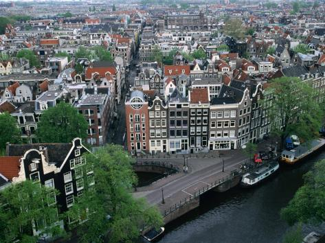 Overhead of Gabled Houses in the Joordan Area, from Tower of Westerkerk, Amsterdam, Netherlands Photographic Print