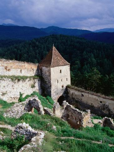 Watchtower and walls of Rasnov Castle, Brasov, Romania Photographic Print