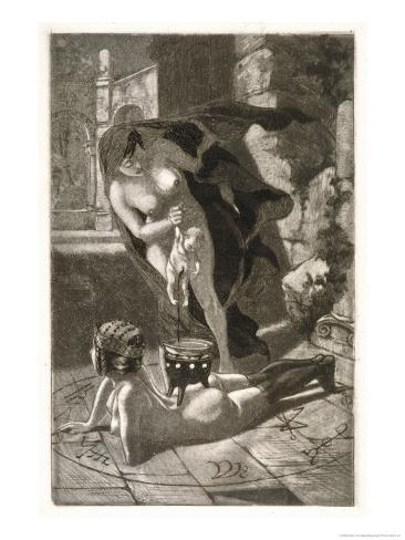 Witch Sacrifices a Child Over the Naked Body of Her Client Giclee Print