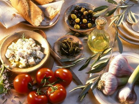 Ingredients for Mediterranean Dishes Photographic Print