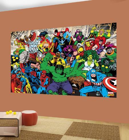 Marvel characters deco wallpaper mural wallpaper mural for Cheap wall mural posters