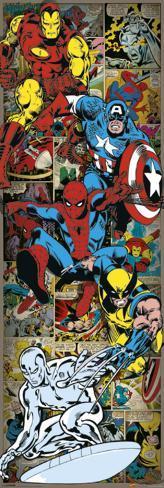 Marvel Comics - Heroes Retro Poster per porta