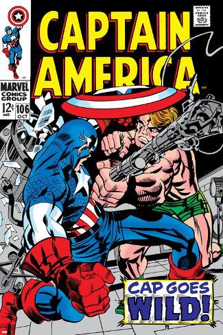 Marvel Comics Retro: Captain America Comic Book Cover No.106, Cap Goes Wild Poster