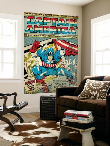 Marvel Comics Retro: Captain America Comic Panel; Smashing through Window (aged) Giant Art Print