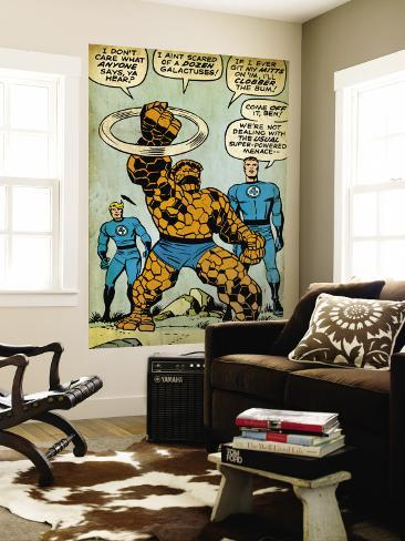 Marvel Comics Retro: Fantastic Four Comic Panel, Thing, Mr. Fantastic, Human Torch (aged) Wall Mural